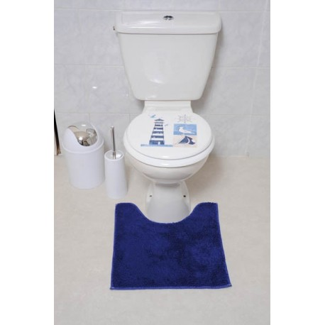 Tapis polyester contour  WC 45 X 50 cm - Marine
